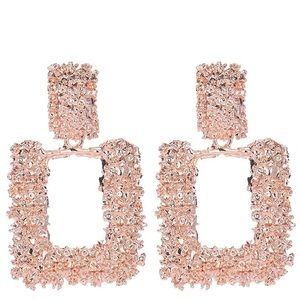 Jewelry - Large rose gold rectangular earrings